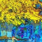 银杏树下(彩色素描)