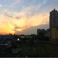 小区看夕阳